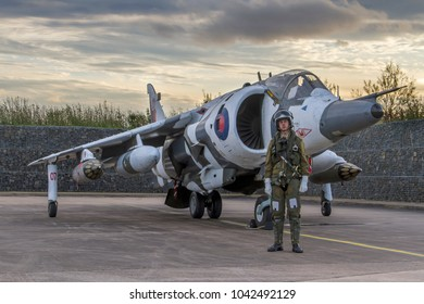 COSFORD, SHROPSHIRE, UK – OCTOBER 25, 2017: Hawker Siddeley Harrier GR3 XZ991'Zero Seven' in 1 Sqn markings with arctic camouflage and formerly based at RAF Wittering, on display at RAF Cosford.