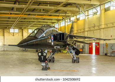COSFORD, SHROPSHIRE, UK – OCTOBER 25, 2017: SEPECAT Jaguar T.2A XX141 'Tango' (T), formerly a 6 Sqn aircraft at RAF Coltishall, on display at RAF Cosford.