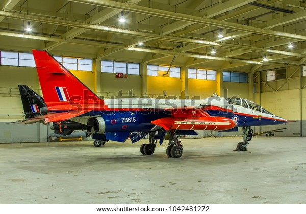 COSFORD, SHROPSHIRE, UK – OCTOBER 25, 2017: SEPECAT Jaguar T.2A ZB615, formerly of the Empire Test Pilots' School (ETPS) at Boscombe Down, on display at RAF Cosford.