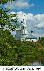 Cosmas and Damian Church on the high hill by the water in Suzdal