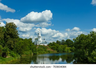 Cosmas and Damian Church on the high Bank of the river in Suzdal