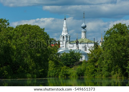 Cosmas and Damian Church and the river Kamenka in Suzdal, Russia.