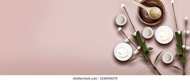 Cosmetic beauty corner for web banner and skin cream - Cosmetics spa concept. Flat lay horizontal web banners with space for text, top view