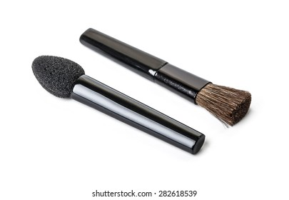 Cosmetic brushes isolated on white with clipping path