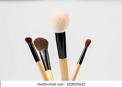 Cosmetic brushes on white backgriund