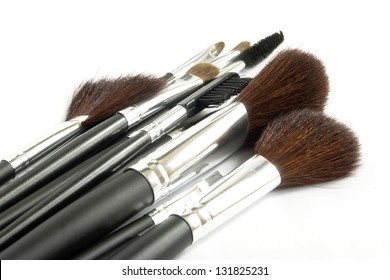 Cosmetic brushes with white background