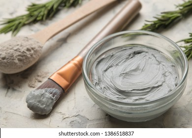Cosmetic clay. clay facial mask on a light background. different types of clay. natural cosmetics for cosmetic procedures. Beauty concept.