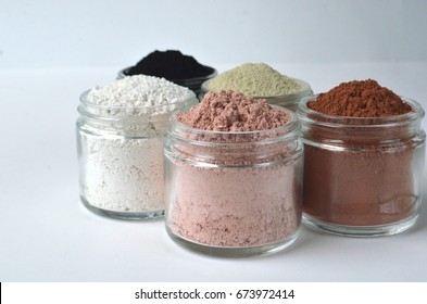 Cosmetic clays for facial beauty face masks - French green clay, pink, red clay, kaolin and powdered activated charcoal