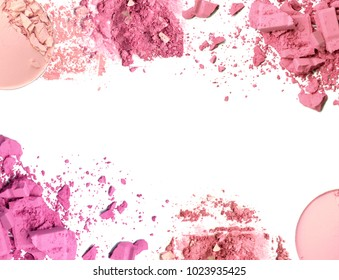 Cosmetic color powder frame on white background