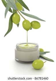 Cosmetic cream with the olive oil addition.