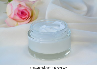 Cosmetic cream relaxing skin moisturizer nourishment in glass jar.