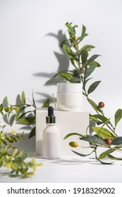 Cosmetic cream and serum or essential oil bottle on white background with olive brenches. Bright shadows. Beauty product concept.