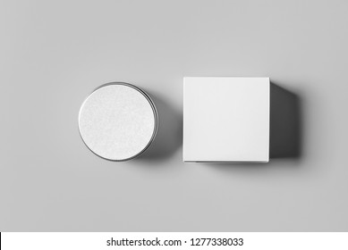 Cosmetic jar and box top view