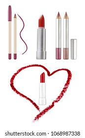 Cosmetic lips beauty products: contour pencils with color stroke sample, red lipstick and heart-shaped red stroke, isolated on white background, clipping paths included