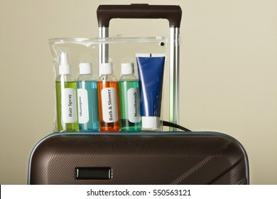 Cosmetic liquids in sachet. Liquid security check at Airport
