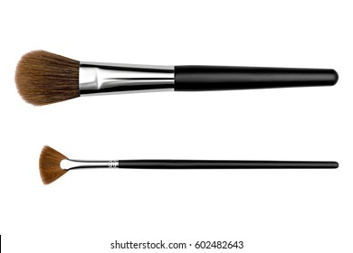Cosmetic makeup brush, isolated on a white background.