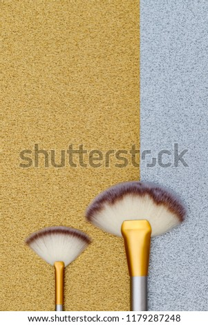 Cosmetic Makeup Brushes Professional Make Fan Stock Photo