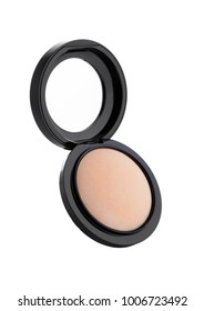 Cosmetic Makeup Powder in Black Round Plastic Case with Mirror on White Background isolated