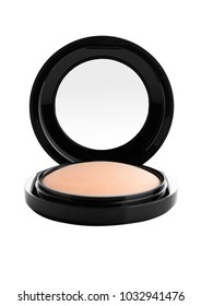Cosmetic Makeup Powder in Black Round Plastic Case with Mirror on White Background