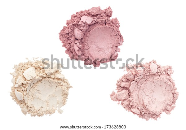 Cosmetic and makeup powder isolated on white background