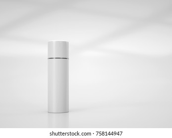 Cosmetic mockup of white plastic tube. 3d rendering