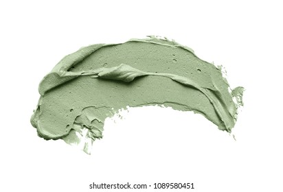 Cosmetic mud mask smear isolated on white background. Top view, closeup texture of blue facial clay, copy space