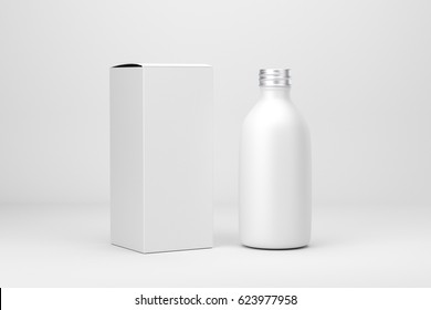 Cosmetic packaging bottle and box, 3d renders