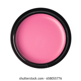Cosmetic pink blush isolated on white background.