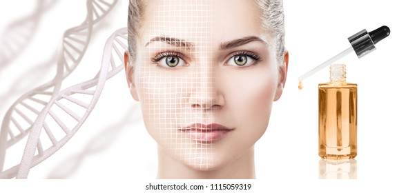 Cosmetic primer oil applying on woman face over dna background. Beauty therapy concept.