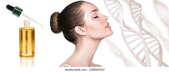 Cosmetic primer oil near beautiful woman with DNA chains. Isolated on white.