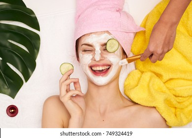cosmetic procedures, mask for skin care, woman young, spa salon