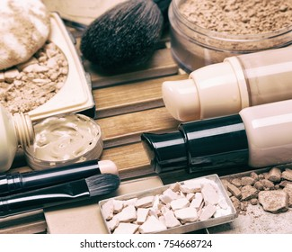 Cosmetic products and accessories for corrective make-up. Makeup foundation set. Close-up, selective focus