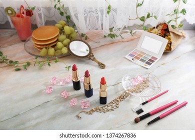 Cosmetic products on the table.