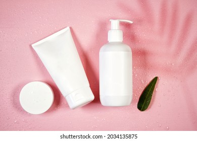 Cosmetic skincare container blank mockups in styled setting.