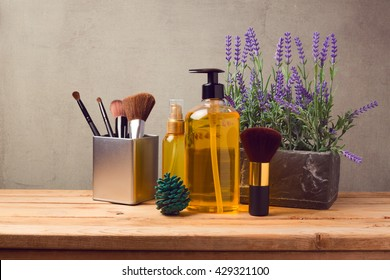 Cosmetic SPA and make up  background with products on wooden table