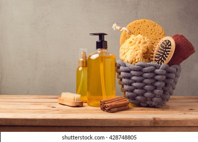Cosmetic SPA and personal hygiene background with products on wooden table
