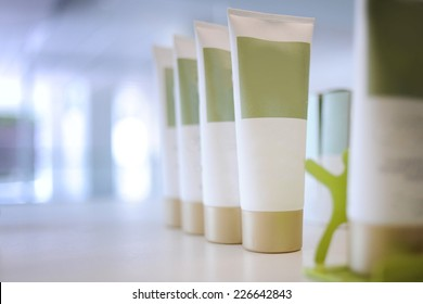 cosmetic tube on the shelf