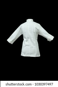 cosmetic uniform or work clothes isolated on black background, white cotton shirt to wrap with wide and long sleeves