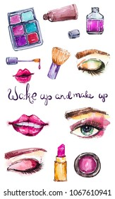 Cosmetic watercolor collection, beautiful make up over white