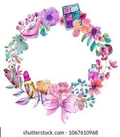 Cosmetic watercolor collection with flowers, beautiful make up wreath over white