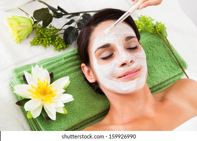 Cosmetician Applying Facial Beauty Mask For Young Woman At Spa Salon
