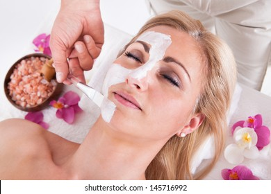 Cosmetician Applying Facial Mask To The Face Of Young Beautiful Woman In Spa Salon