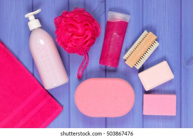 Cosmetics and accessories for personal hygiene in bathroom, soap, body scrub, sponge, bath puff, towel, brush, pumice, concept of body care