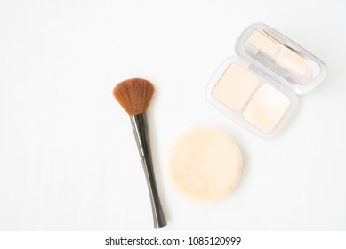 Cosmetics beauty on white background.flat lay style.