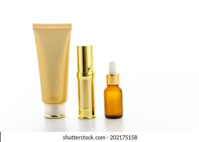 Cosmetics bottles isolated on white