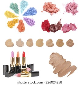 Cosmetics collage isolated on white