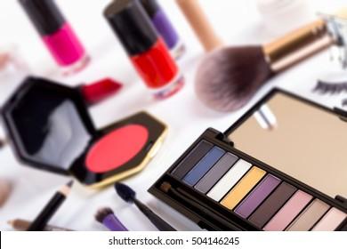 cosmetics - focus on eyeshadows palette