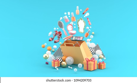 Cosmetics and high heels shoes float out of the bag amid colorful balls on the blue background.-3d render.
