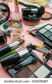 Cosmetics and  Make Up Composition on Pink Background.