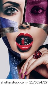 Cosmetics, make up, idea. Composition of women portraits with bead in mouth and body art